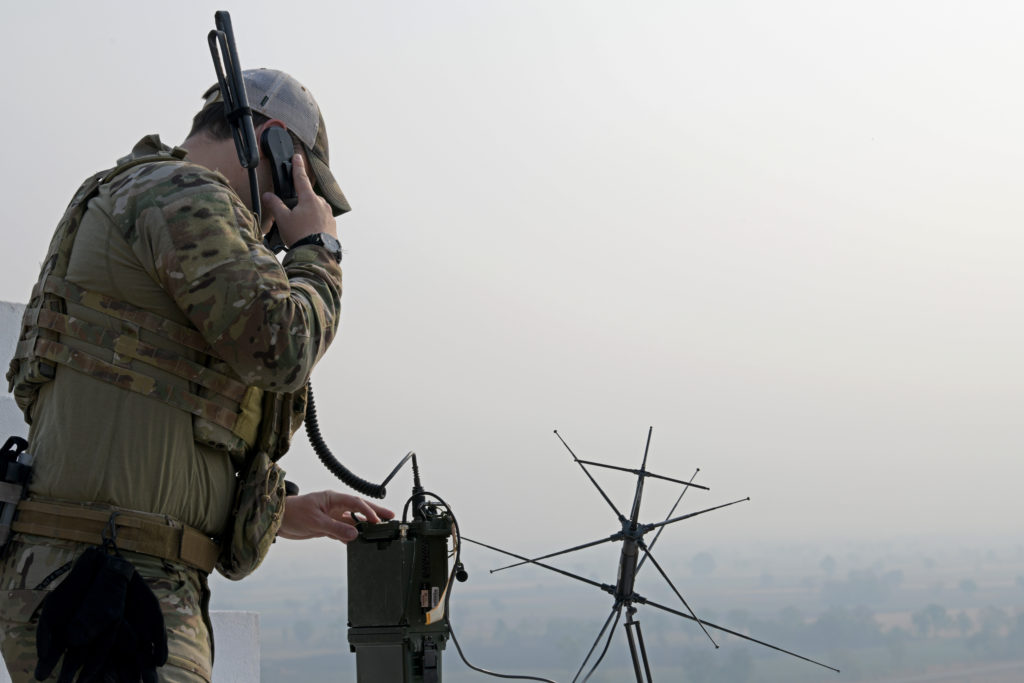 A U.S. Air Force combat controller with the 320th Special Tactics Squadron conducts radio checks in support of Exercise Cobra Gold 2020 at Chandy Range in Lopburi province, Kingdom of Thailand, Feb. 27, 2020. Exercise Cobra Gold demonstrates the commitment of the Kingdom of Thailand and the United States to our long-standing alliance, promotes regional partnerships and advances security cooperation in the Indo-Pacific region. Photo by Sgt. Austin Fox, courtesy of the U.S. Army.